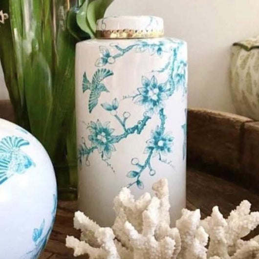Vintage Bird Large Canister in White with Turquoise