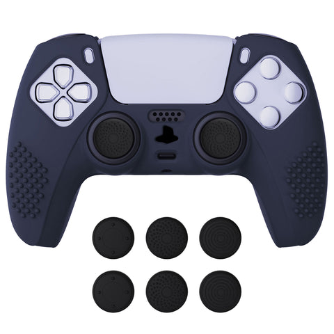 Midnight Blue 3D Studded Edition Anti-slip Silicone Cover Skin for PlayStation 5 Controller, Soft Rubber Case Protector for PS5 Wireless Controller with 6 Black Thumb Grip Caps - TDPF003