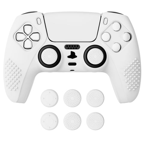 White 3D Studded Edition Anti-slip Silicone Cover Skin for PlayStation 5 Controller, Soft Rubber Case Protector for PS5 Wireless Controller with 6 White Thumb Grip Caps - TDPF002