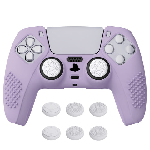 Mauve Purple 3D Studded Edition Anti-slip Silicone Cover Skin for PlayStation 5 Controller, Soft Rubber Case Protector for PS5 Wireless Controller with 6 Black Thumb Grip Caps - TDPF009