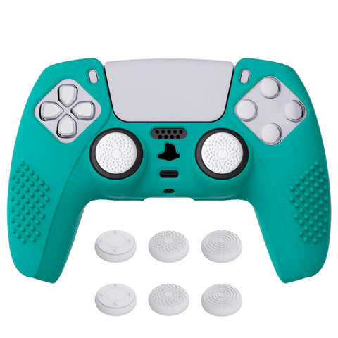 Aqua Green 3D Studded Edition Anti-slip Silicone Cover Skin for PlayStation 5 Controller, Soft Rubber Case Protector for PS5 Wireless Controller with 6 Black Thumb Grip Caps - TDPF010
