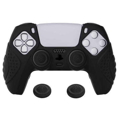 Guardian Edition Black Ergonomic Soft Anti-slip Controller Silicone Case Cover, Rubber Protector Skins with Black Joystick Caps for PS5 Controller - YHPF001