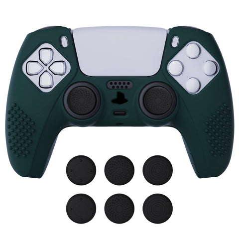 Racing Green 3D Studded Edition Anti-slip Silicone Cover Skin for PlayStation 5 Controller, Soft Rubber Case Protector for PS5 Wireless Controller with 6 Black Thumb Grip Caps - TDPF004