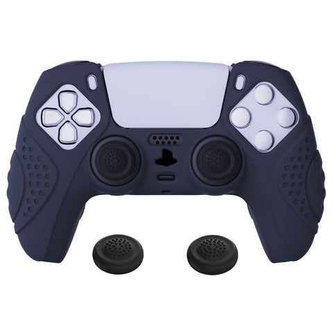 Guardian Edition Midnight Blue Ergonomic Soft Anti-slip Controller Silicone Case Cover, Rubber Protector Skins with Black Joystick Caps for PS5 Controller - YHPF003