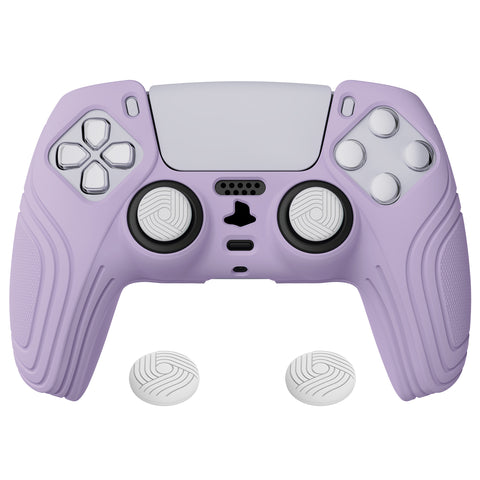 Samurai Edition Mauve Purple Anti-slip Controller Grip Silicone Skin, Ergonomic Soft Rubber Protective Case Cover for PlayStation 5 PS5 Controller with Black Thumb Stick Caps - BWPF009