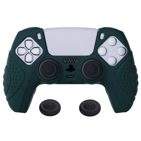 Guardian Edition Racing Green Blue Ergonomic Soft Anti-slip Controller Silicone Case Cover, Rubber Protector Skins with Black Joystick Caps for PS5 Controller - YHPF004
