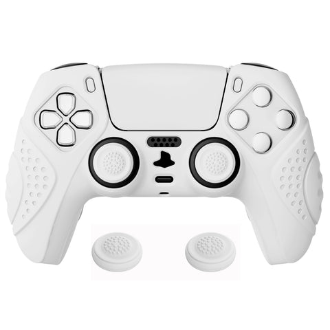 Guardian Edition White Ergonomic Soft Anti-slip Controller Silicone Case Cover, Rubber Protector Skins with White Joystick Caps for PS5 Controller - YHPF002