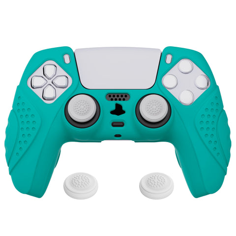 Guardian Edition Aqua Green Ergonomic Soft Anti-slip Controller Silicone Case Cover, Rubber Protector Skins with Black Joystick Caps for PS5 Controller - YHPF010