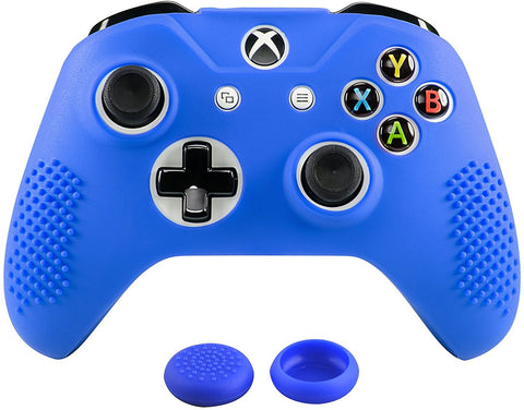 Soft Dark Blue Silicone Controller Cover Grips Caps for Xbox One S for Xbox One X-XBOWP0040GC