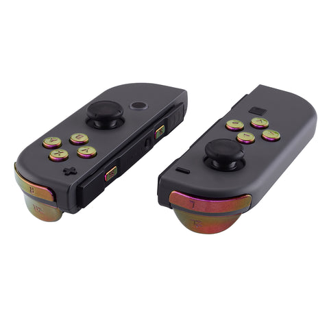 Purple Yellow Green Replacement ABXY Direction Keys SR SL L R ZR ZL Trigger Buttons and Springs, Chameleon Full Set Buttons with Tools for Nintendo Switch Joy-Con JoyCon Shell NOT Included - AJ211