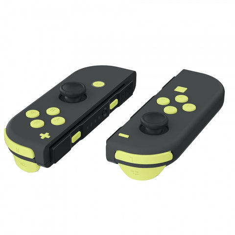 Soft Touch Lemon Yellow Replacement ABXY Direction Keys SR SL L R ZR ZL Trigger Buttons Springs, Full Set Buttons Repair Kits with Tools for Nintendo Switch Joy-Con JoyCon Shell NOT Included - AJ225