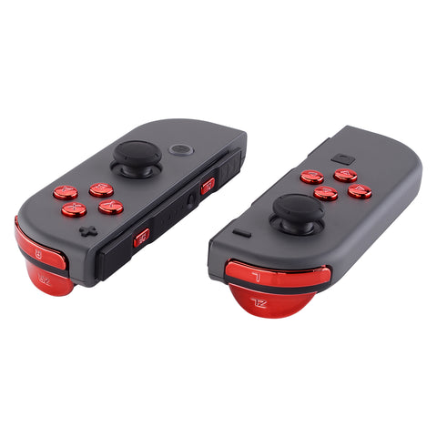Chrome Red Glossy Replacement ABXY Direction Keys SR SL L R ZR ZL Trigger Buttons Springs, Full Set Buttons Repair Kits with Tools for Nintendo Switch Joy-Con - JoyCon Shell NOT Included - AJ303