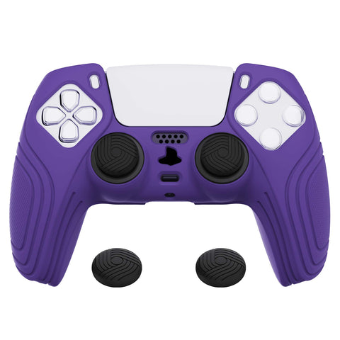 Samurai Edition Purple Anti-slip Controller Grip Silicone Skin, Ergonomic Soft Rubber Protective Case Cover for PlayStation 5 PS5 Controller with Black Thumb Stick Caps - BWPF007