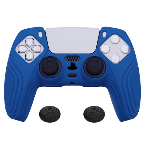 Samurai Edition Blue Anti-slip Controller Grip Silicone Skin, Ergonomic Soft Rubber Protective Case Cover for PlayStation 5 PS5 Controller with Black Thumb Stick Caps - BWPF008