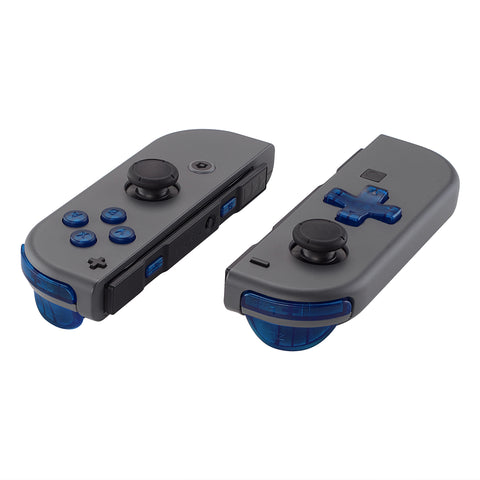 Transparent Clear Blue D-pad ABXY Keys SR SL L R ZR ZL Trigger Buttons Springs, Replacement Full Set Buttons Fix Kits for Nintendo Switch Joycon (D-pad ONLY Fits for eXtremeRate Joycon D-pad Shell) - BZM504