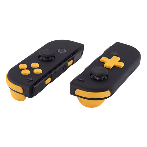 Soft Touch Caution Yellow D-pad ABXY Keys SR SL L R ZR ZL Trigger Buttons Springs, Replacement Full Set Buttons Fix Kits for Nintendo Switch Joycon (D-pad ONLY Fits for eXtremeRate Joycon D-pad Shell) - BZP305