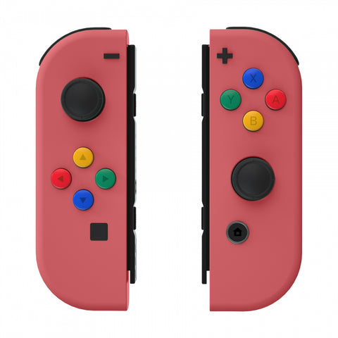 Soft Touch Grip Indian Red Joycon Handheld Controller Housing with ABXY Direction Buttons, DIY Replacement Shell Case for Nintendo Switch Joy-Con Console Shell NOT Included - CP319