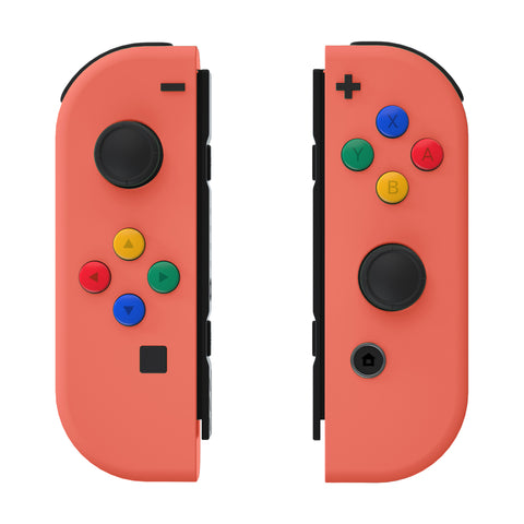 Coral Joycon Handheld Controller Housing with ABXY Direction Buttons, DIY Replacement Shell Case for Nintendo Switch Joy-Con – Console Shell NOT Included - CP323