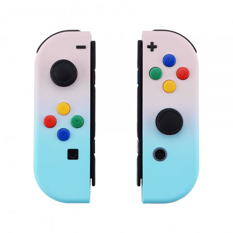 Gradient Pink Blue Soft Touch Grip Joycon Handheld Controller Housing with Colorful Buttons, DIY Replacement Shell Case for Nintendo Switch Joy-Con – Joycon and Console NOT Included - CP328