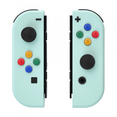 Soft Touch Grip Light Cyan Joycon Handheld Controller Housing with Coloful Buttons, DIY Replacement Shell Case for Nintendo Switch Joy-Con – Joycon and Console NOT Included - CP331