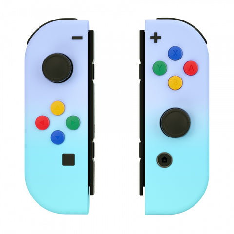 Violet Blue Soft Touch Grip Gradient Joycon Handheld Controller Housing with Coloful Buttons, DIY Replacement Shell Case for Nintendo Switch Joy-Con – Joycon and Console NOT Included - CP332