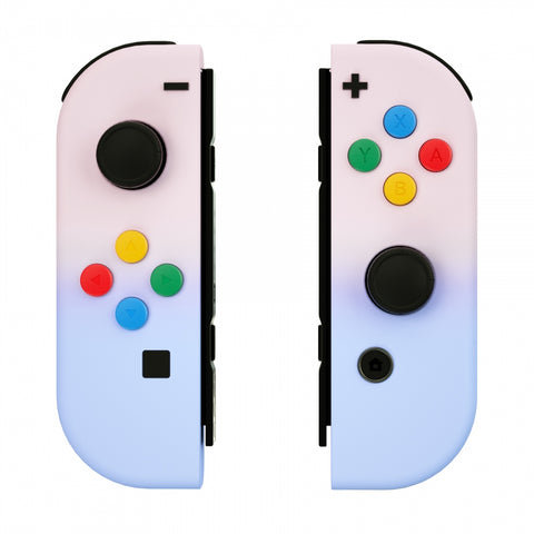 Pink Violet Soft Touch Grip Gradient Joycon Handheld Controller Housing with Coloful Buttons, DIY Replacement Shell Case for Nintendo Switch Joy-Con – Joycon and Console NOT Included - CP333