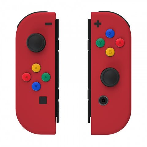 Soft Touch Grip Passion Red Joycon Handheld Controller Housing with Coloful Buttons, DIY Replacement Shell Case for Nintendo Switch Joy-Con – Joycon and Console NOT Included - CP334