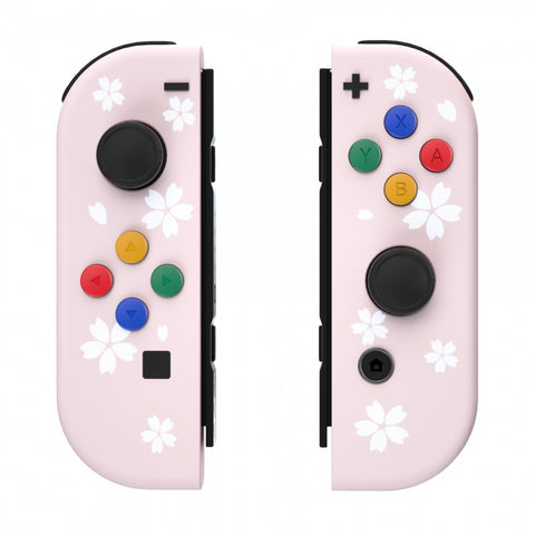 Soft Touch Grip Sakura Petals Patterned Joycon Handheld Controller Housing with Coloful Buttons, DIY Replacement Shell Case for Nintendo Switch Joy-Con – Joycon and Console NOT Included - CT109