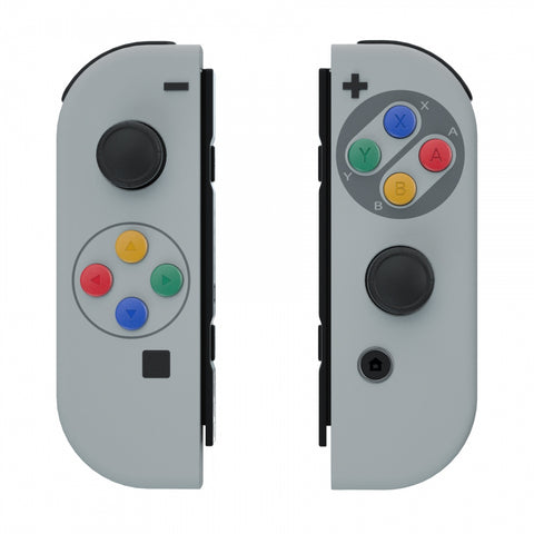 Soft Touch Grip SFC SNES Classic EU Style Joycon Handheld Controller Housing with Coloful Buttons, DIY Replacement Shell Case for Nintendo Switch Joy-Con – Joycon and Console NOT Included - CT118