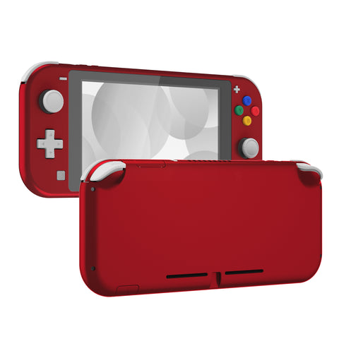 Soft Touch Scarlet Red DIY Replacement Shell for Nintendo Switch Lite, NSL Handheld Controller Housing w/ Screen Protector, Custom Case Cover for Nintendo Switch Lite - DLP303