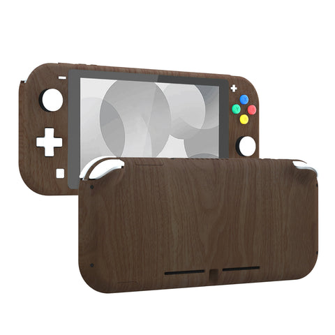 Soft Touch Wood Grain DIY Replacement Shell for Nintendo Switch Lite, NSL Handheld Controller Housing w/ Screen Protector, Custom Case Cover for Nintendo Switch Lite - DLS201