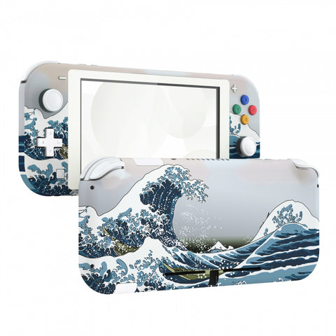 Soft Touch The Great Wave DIY Replacement Shell for Nintendo Switch Lite, NSL Handheld Controller Housing w/ Screen Protector, Custom Case Cover for Nintendo Switch Lite - DLT106