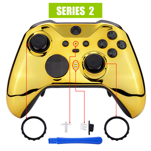 Chrome Gold Edition Glossy Faceplate Cover, Front Housing Shell Case Replacement Kit for Xbox One Elite Series 2 Controller Model 1797 - Thumbstick Accent Rings Included - ELD401