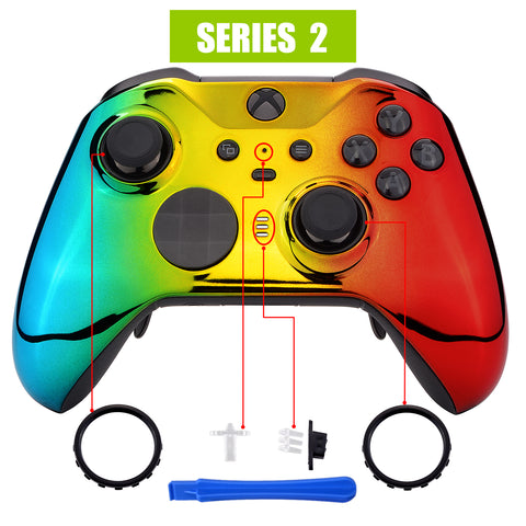 Tri-Color Gradient Glossy Faceplate Cover, Chrome Cyan Gold Red Replacement Front Housing Shell Case for Xbox One Elite Series 2 Controller Model 1797 - Thumbstick Accent Rings Included - ELD409