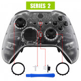 Transparent Clear Faceplate Cover, Front Housing Shell Case Replacement Kit for Xbox One Elite Series 2 Controller Model 1797 - Thumbstick Accent Rings Included - ELM503