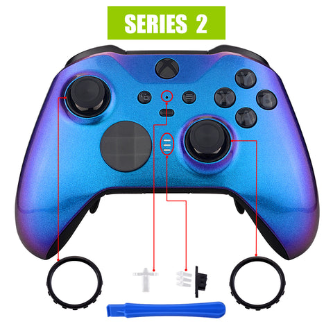 Chameleon Purple Blue Faceplate Cover, Glossy Front Housing Shell Case Replacement Kit for Xbox One Elite Series 2 Controller Model 1797 - Thumbstick Accent Rings Included - ELP301