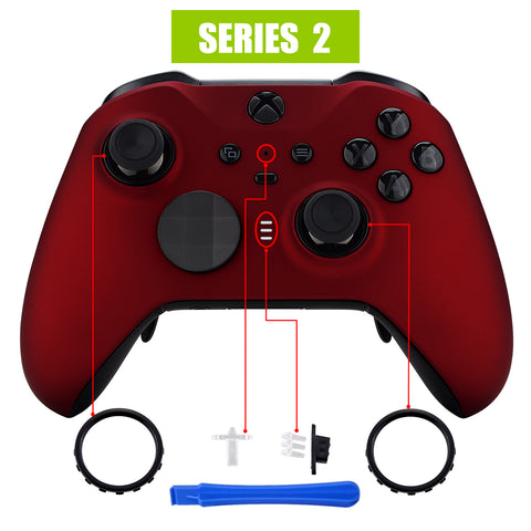 Scarlet Red Soft Touch Grip Faceplate Cover, Front Housing Shell Case Replacement Kit for Xbox One Elite Series 2 Controller Model 1797 - Thumbstick Accent Rings Included - ELP303