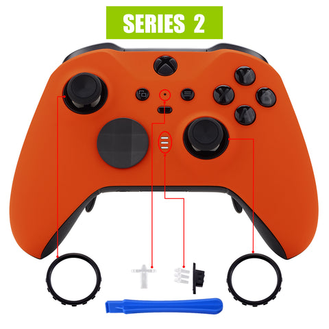 Orange Soft Touch Grip Faceplate Cover, Front Housing Shell Case Replacement Kit for Xbox One Elite Series 2 Controller Model 1797 - Thumbstick Accent Rings Included - ELP304