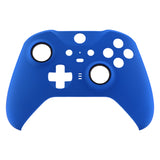 Blue Soft Touch Grip Faceplate Cover, Front Housing Shell Case Replacement Kit for Xbox One Elite Series 2 Controller Model 1797 - Thumbstick Accent Rings Included - ELP305