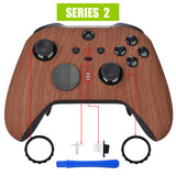 Wood Grain Patterned Faceplate Cover, Soft Touch Front Housing Shell Case Replacement Kit for Xbox One Elite Series 2 Controller Model 1797 - Thumbstick Accent Rings Included - ELS201