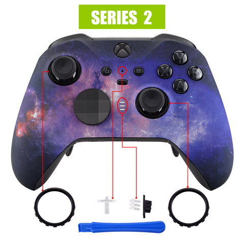 Nebula Galaxy Patterned Faceplate Cover, Soft Touch Front Housing Shell Case Replacement Kit for Xbox One Elite Series 2 Controller Model 1797 - Thumbstick Accent Rings Included - ELT101