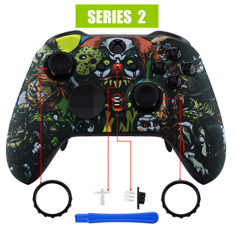 Scary Party Patterned Faceplate Cover, Soft Touch Front Housing Shell Case Replacement Kit for Xbox One Elite Series 2 Controller Model 1797 - Thumbstick Accent Rings Included - ELT104