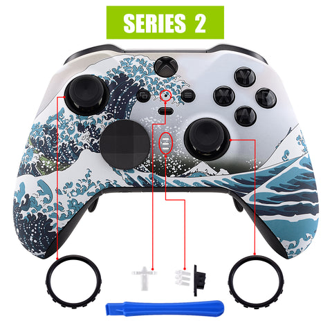 The Great Wave Patterned Faceplate Cover, Soft Touch Front Housing Shell Case Replacement Kit for Xbox One Elite Series 2 Controller Model 1797 - Thumbstick Accent Rings Included - ELT106