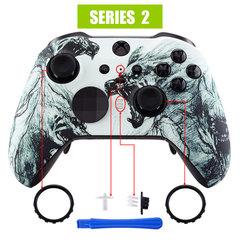 Wolf Soul Patterned Faceplate Cover, Soft Touch Front Housing Shell Case Replacement Kit for Xbox One Elite Series 2 Controller Model 1797 - Thumbstick Accent Rings Included - ELT107