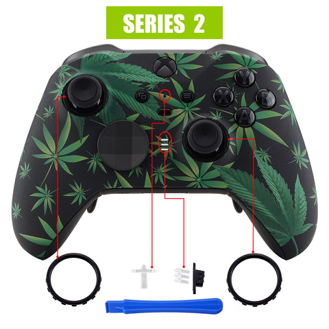 Green Weeds Patterned Faceplate Cover, Soft Touch Front Housing Shell Case Replacement Kit for Xbox One Elite Series 2 Controller Model 1797 - Thumbstick Accent Rings Included - ELT111
