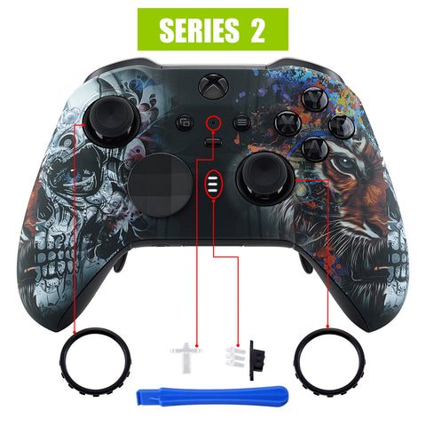 Tiger Skull Patterned Faceplate Cover, Soft Touch Front Housing Shell Case Replacement Kit for Xbox One Elite Series 2 Controller Model 1797 - Thumbstick Accent Rings Included - ELT113