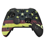 US Flag The Stars & Stripes Patterned Faceplate Cover, Soft Touch Front Housing Shell Case Replacement Kit for Xbox One Elite Series 2 Controller Model 1797 - Thumbstick Accent Rings Included - ELT114