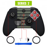Classic NES Style Faceplate Cover, Soft Touch Front Housing Shell Case Replacement Kit for Xbox One Elite Series 2 Controller Model 1797 - Thumbstick Accent Rings Included - ELT137