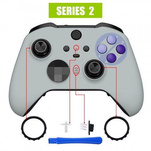 Classic SNES Style Faceplate Cover, Soft Touch Front Housing Shell Case Replacement Kit for Xbox One Elite Series 2 Controller Model 1797 - Thumbstick Accent Rings Included - ELT138