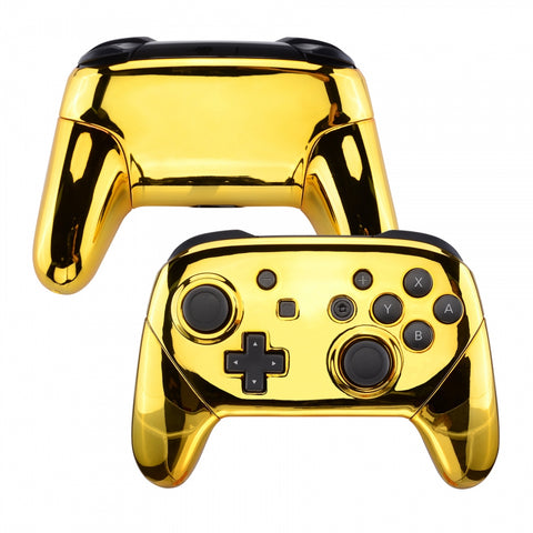 Chrome Gold Faceplate Backplate Handles for Nintendo Switch Pro Controller, Glossy DIY Replacement Grip Housing Shell Cover for Nintendo Switch Pro - Controller NOT Included - FRD401